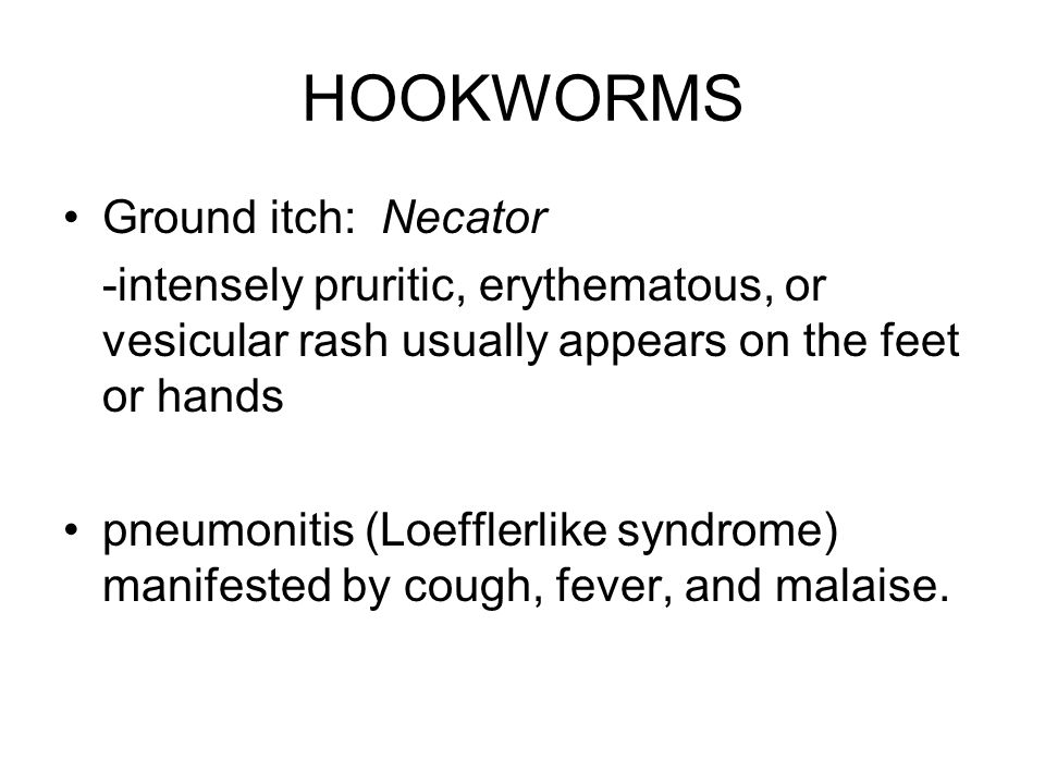HOOKWORMS Ground itch: Necator -intensely pruritic, erythematous, or vesicular rash usually appears on the feet or hands pneumonitis (Loefflerlike syndrome) manifested by cough, fever, and malaise.