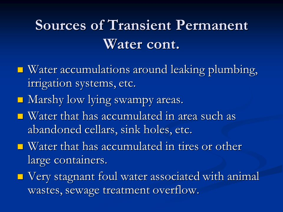 Sources of Transient Permanent Water cont.