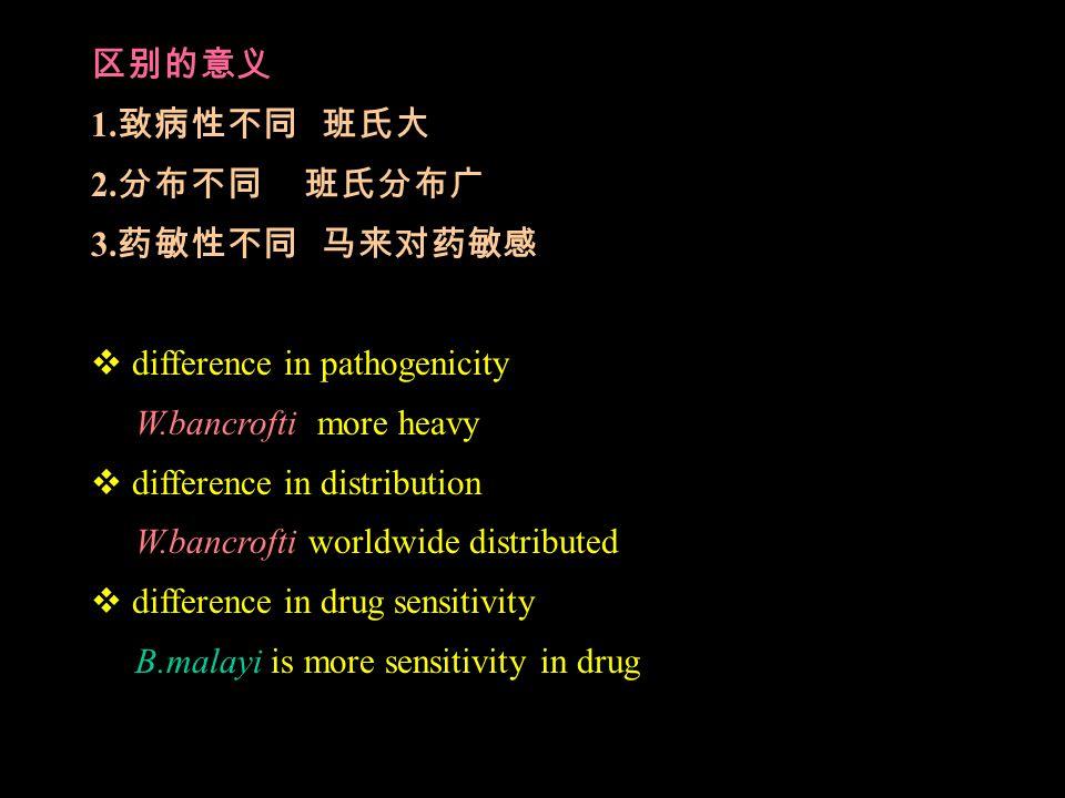 区别的意义 1. 致病性不同 班氏大 2. 分布不同 班氏分布广 3.
