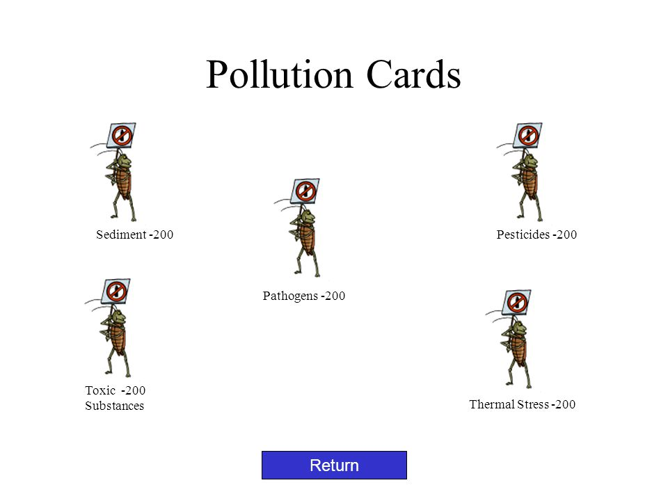 Pollution Cards Return Sediment -200 Pathogens -200 Toxic -200 Substances Thermal Stress -200 Pesticides -200