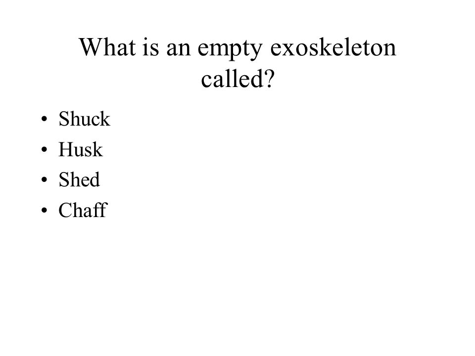 What is an empty exoskeleton called? Shuck Husk Shed Chaff