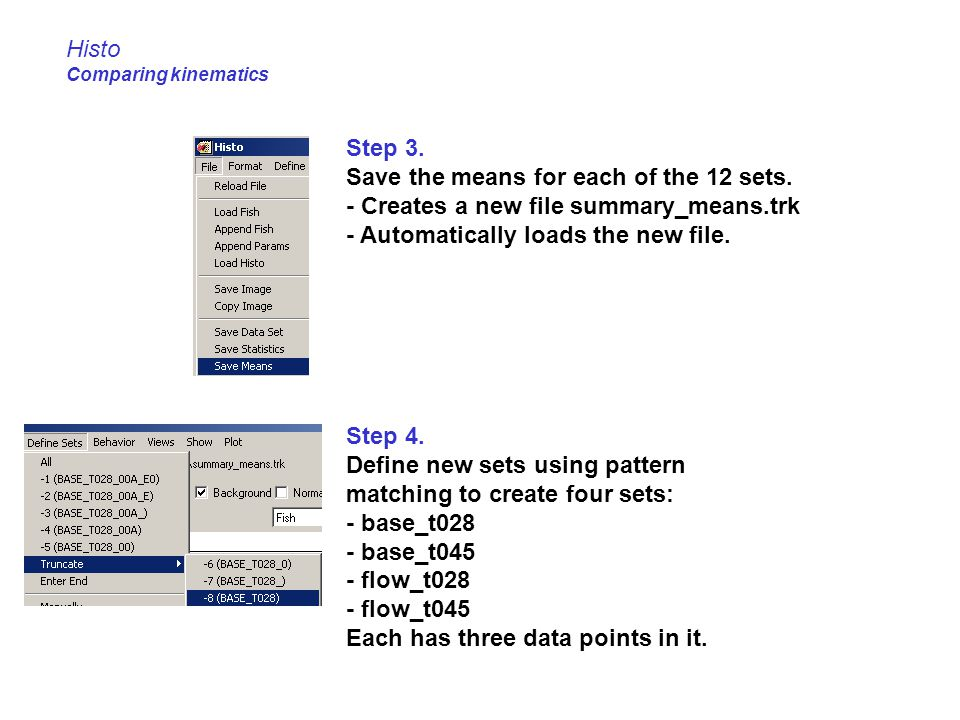 Histo Comparing kinematics Step 3. Save the means for each of the 12 sets. - Creates a new file summary_means.trk - Automatically loads the new file.