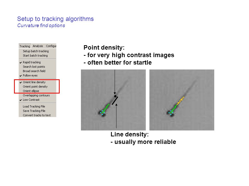 Setup to tracking algorithms Curvature find options Point density: - for very high contrast images - often better for startle Line density: - usually