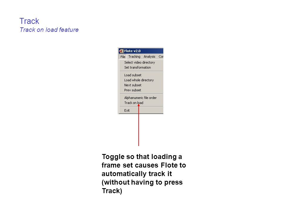 Track Track on load feature Toggle so that loading a frame set causes Flote to automatically track it (without having to press Track)