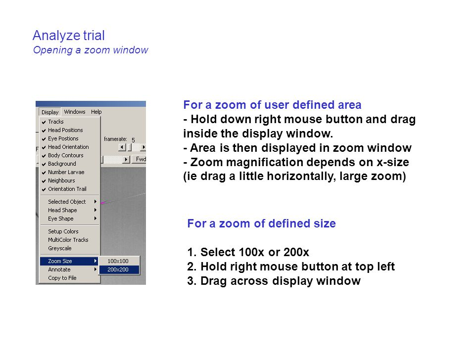 Analyze trial Opening a zoom window For a zoom of user defined area - Hold down right mouse button and drag inside the display window.