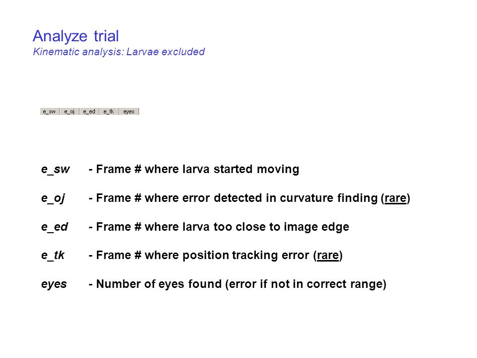 Analyze trial Kinematic analysis: Larvae excluded e_sw - Frame # where larva started moving e_oj- Frame # where error detected in curvature finding (rare) e_ed- Frame # where larva too close to image edge e_tk- Frame # where position tracking error (rare) eyes- Number of eyes found (error if not in correct range)