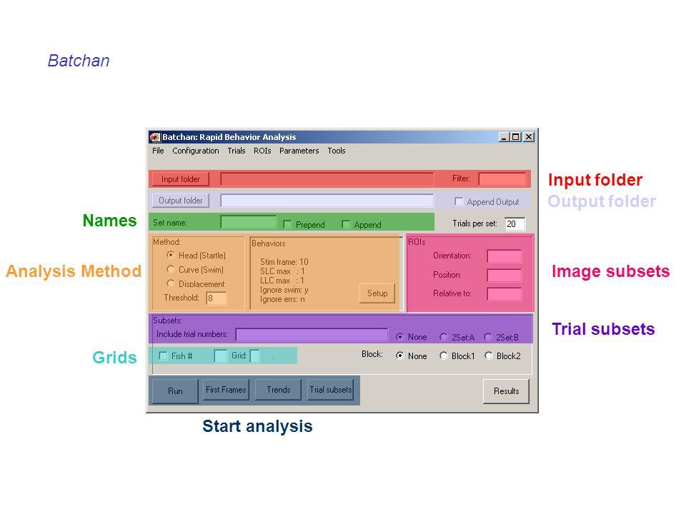Batchan Input folder Output folder Names Analysis MethodImage subsets Trial subsets Grids Start analysis