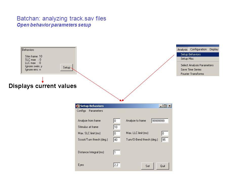 Batchan: analyzing track.sav files Open behavior parameters setup Displays current values