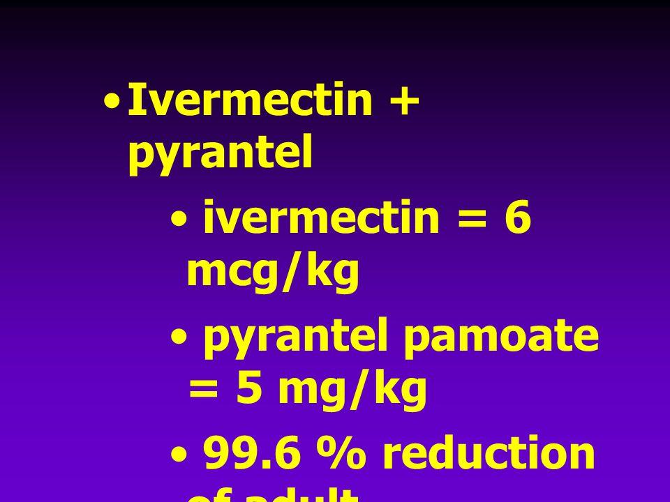 Ivermectin + pyrantel ivermectin = 6 mcg/kg pyrantel pamoate = 5 mg/kg 99.6 % reduction of adult hookworms (Nolan T.J. et. al, 1992)