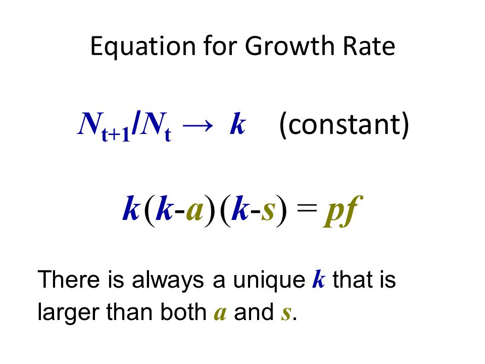 Equation for Growth Rate k (k-a) (k-s) = pf N t+1 / N t → k (constant) There is always a unique k that is larger than both a and s.