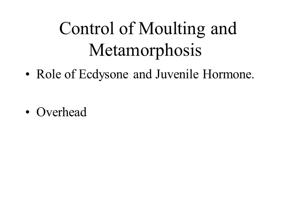 Control of Moulting and Metamorphosis Role of Ecdysone and Juvenile Hormone. Overhead