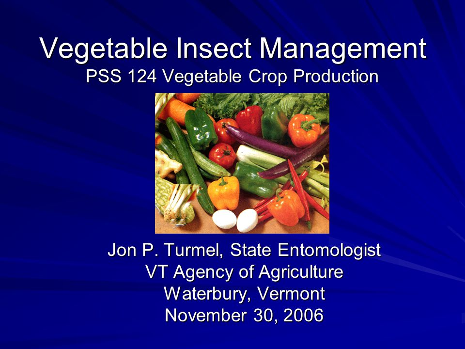Vegetable Insect Management PSS 124 Vegetable Crop Production Jon P.