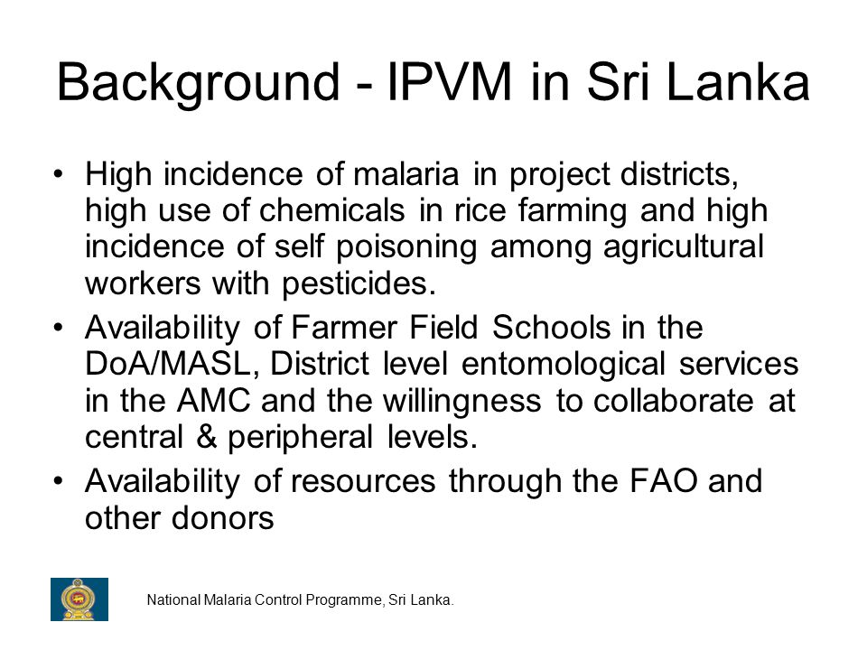 Current situation of IPVM The project has now been extended to three different climatic zones where its replicability in different eco-environmental settings where paddy cultivation takes place is being explored.