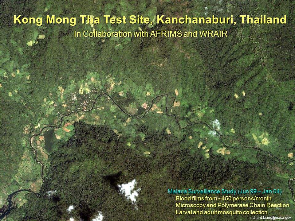 Kong Mong Tha Test Site, Kanchanaburi, Thailand Malaria Surveillance Study (Jun 99 – Jan 04) Blood films from ~450 persons/month Microscopy and Polyme