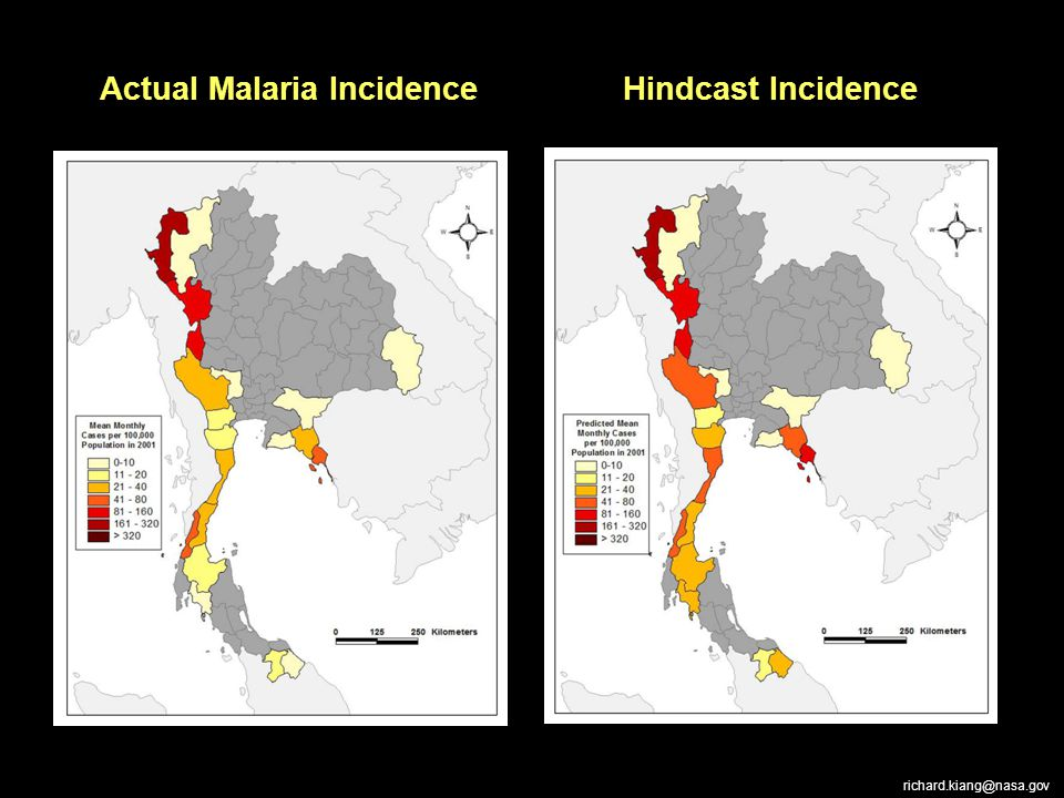 Actual Malaria Incidence Hindcast Incidence richard.kiang@nasa.gov