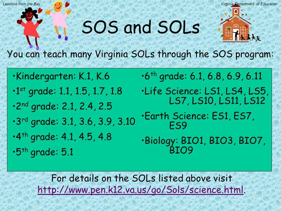 SOS and SOLs You can teach many Virginia SOLs through the SOS program: Kindergarten: K.1, K.6 1 st grade: 1.1, 1.5, 1.7, 1.8 2 nd grade: 2.1, 2.4, 2.5