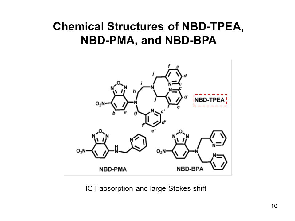 10 Chemical Structures of NBD-TPEA, NBD-PMA, and NBD-BPA ICT absorption and large Stokes shift