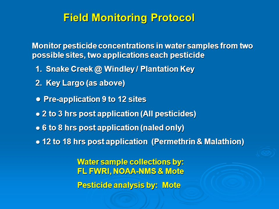 Field Monitoring Protocol Monitor pesticide concentrations in water samples from two possible sites, two applications each pesticide 1.Snake Creek @ W