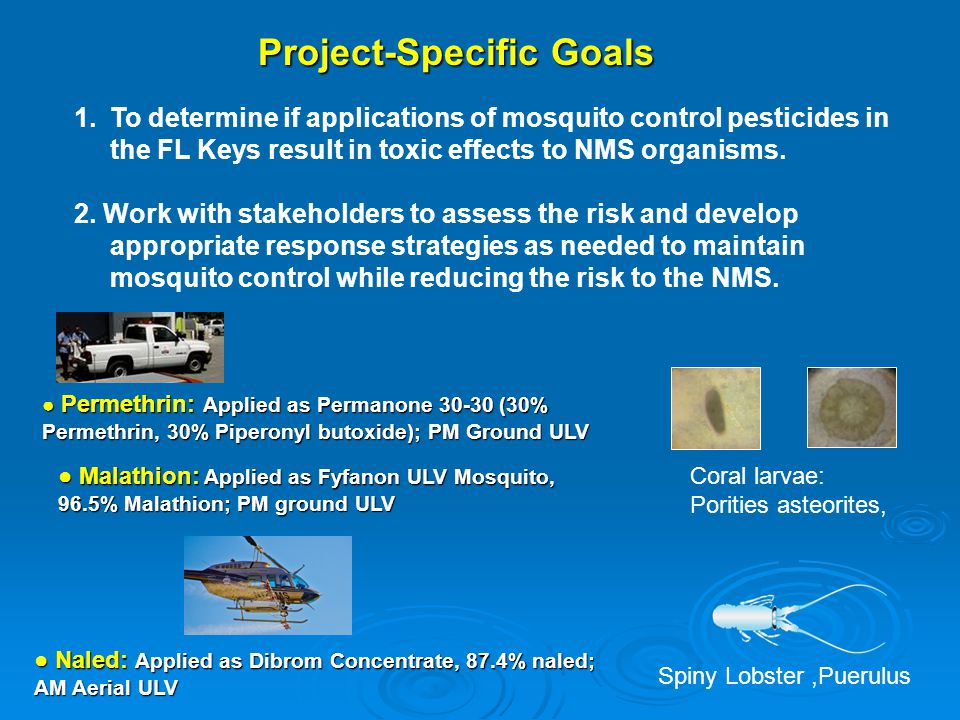1: Monitor ground and aerial applications of mosquito adulticides (naled, permethrin and malathion), to assess transport, distribution, concentration and persistence in NMS.