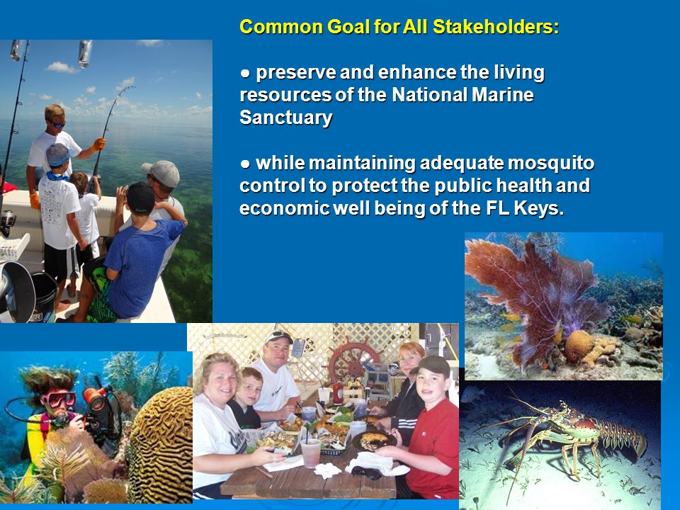 Common Goal for All Stakeholders: ● preserve and enhance the living resources of the National Marine Sanctuary ●while maintaining adequate mosquito co