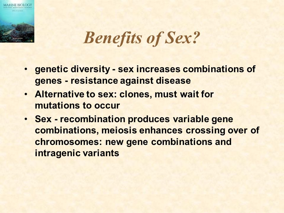 Benefits of Sex? genetic diversity - sex increases combinations of genes - resistance against disease Alternative to sex: clones, must wait for mutati