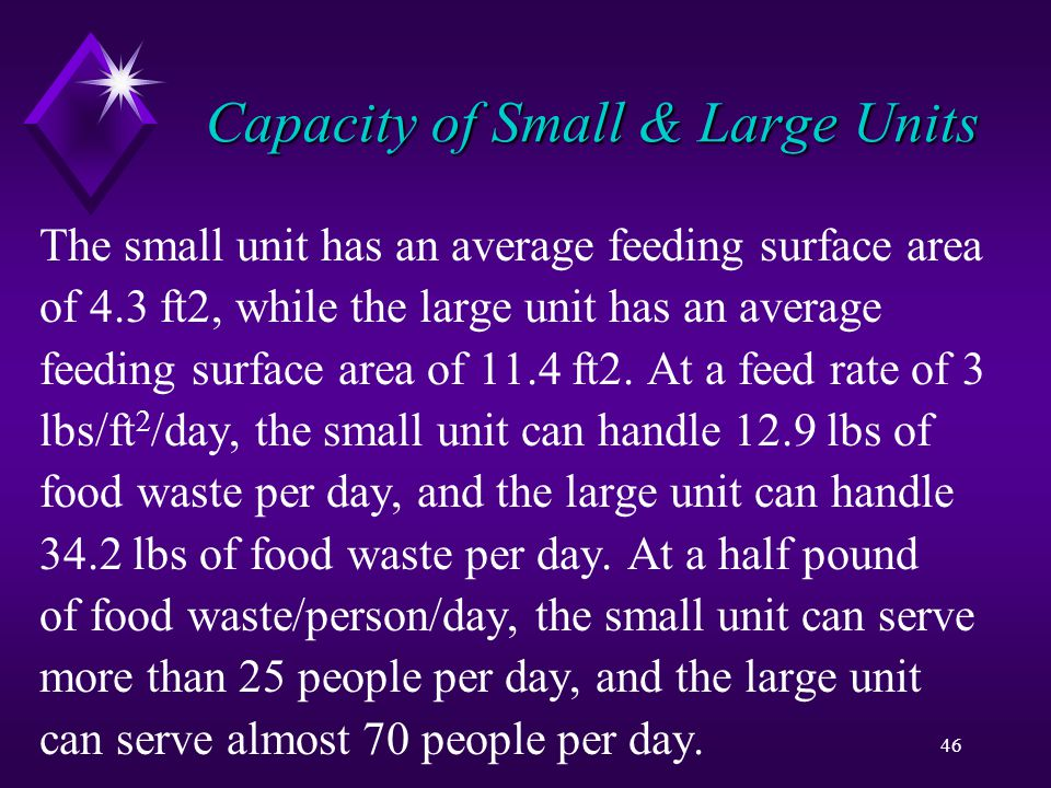 46 Capacity of Small & Large Units The small unit has an average feeding surface area of 4.3 ft2, while the large unit has an average feeding surface area of 11.4 ft2.
