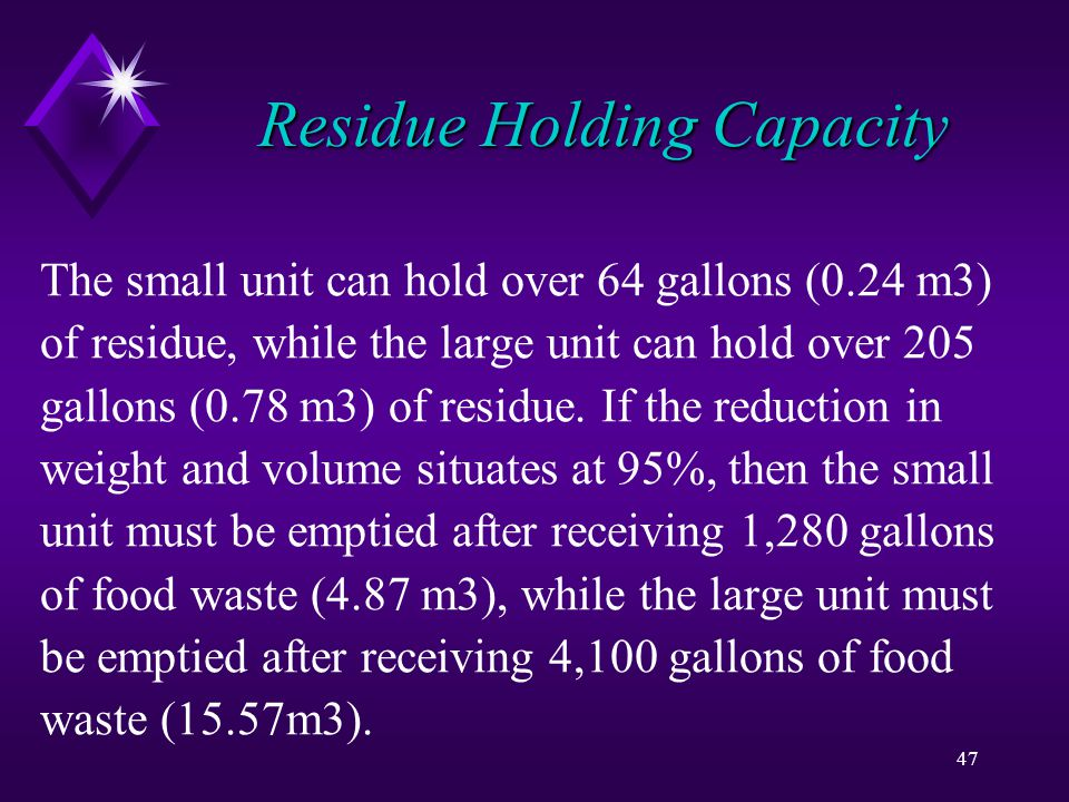47 Residue Holding Capacity The small unit can hold over 64 gallons (0.24 m3) of residue, while the large unit can hold over 205 gallons (0.78 m3) of residue.