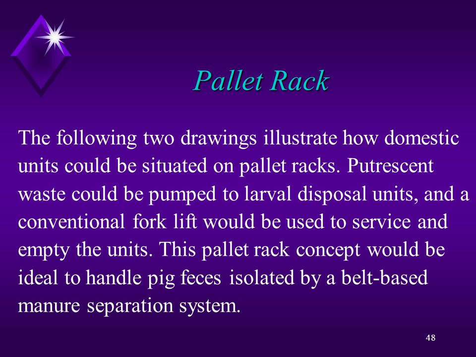 48 Pallet Rack The following two drawings illustrate how domestic units could be situated on pallet racks.