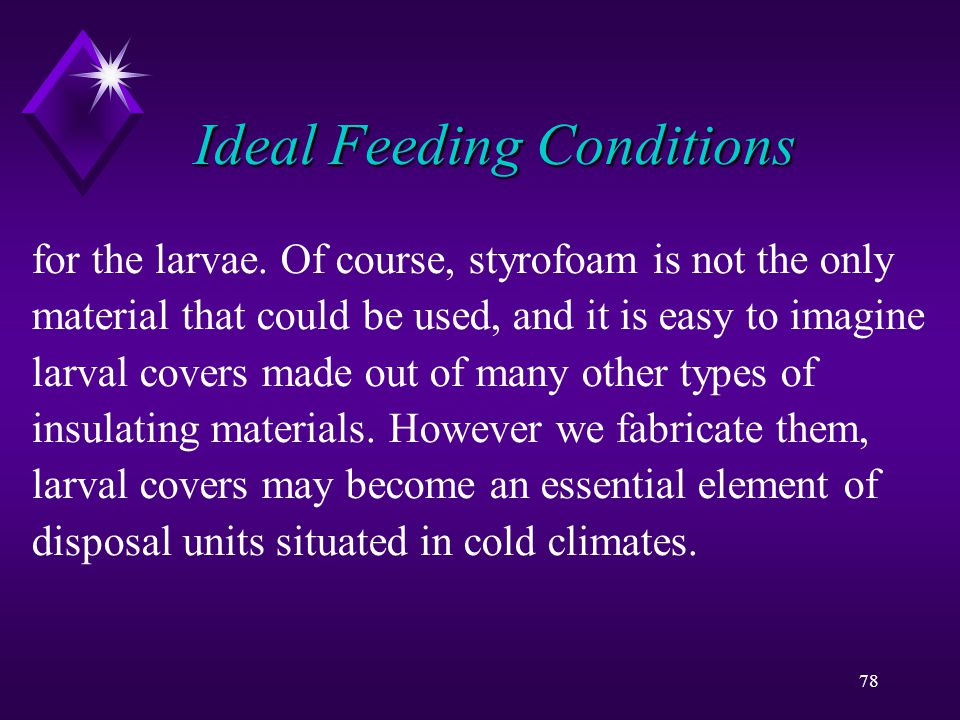 78 Ideal Feeding Conditions for the larvae.