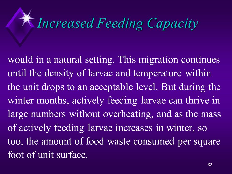 82 Increased Feeding Capacity would in a natural setting.