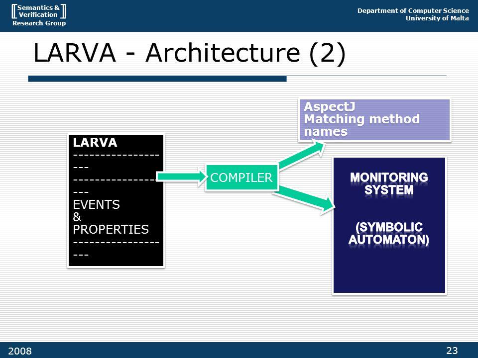Semantics & Verification Research Group Department of Computer Science University of Malta 23 2008 LARVA - Architecture (2) LARVA ---------------- --- EVENTS & PROPERTIES ---------------- --- LARVA ---------------- --- EVENTS & PROPERTIES ---------------- --- AspectJ Matching method names AspectJ Matching method names COMPILER