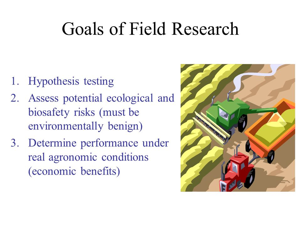 Goals of Field Research 1.Hypothesis testing 2.Assess potential ecological and biosafety risks (must be environmentally benign) 3.Determine performance under real agronomic conditions (economic benefits)
