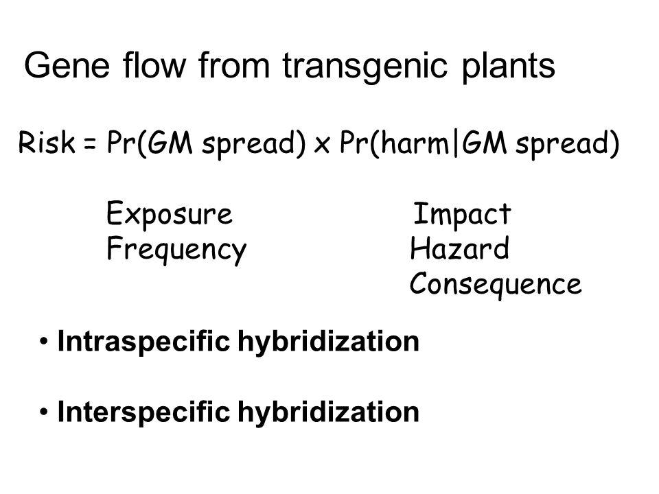 Risk = Pr(GM spread) x Pr(harm|GM spread) ExposureImpact Frequency Hazard Consequence Gene flow from transgenic plants Intraspecific hybridization Int