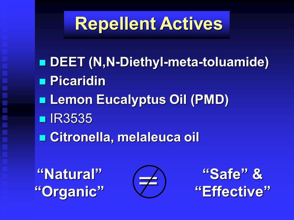 DEET (N,N-Diethyl-meta-toluamide) DEET (N,N-Diethyl-meta-toluamide) Picaridin Picaridin Lemon Eucalyptus Oil (PMD) Lemon Eucalyptus Oil (PMD) IR3535 I