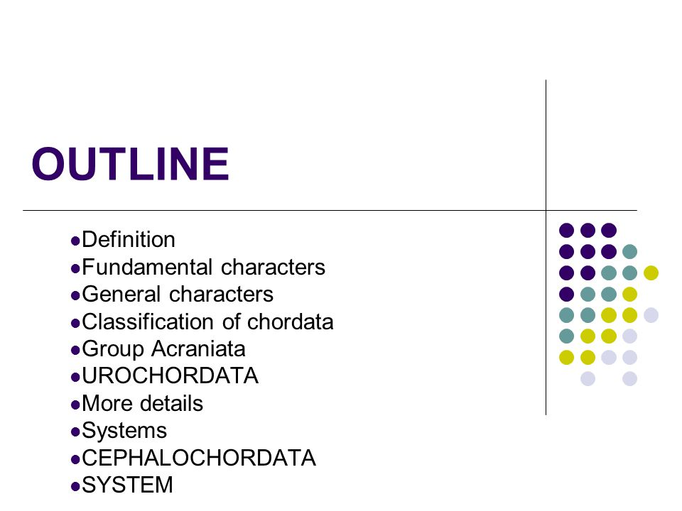 OUTLINE Definition Fundamental characters General characters Classification of chordata Group Acraniata UROCHORDATA More details Systems CEPHALOCHORDA