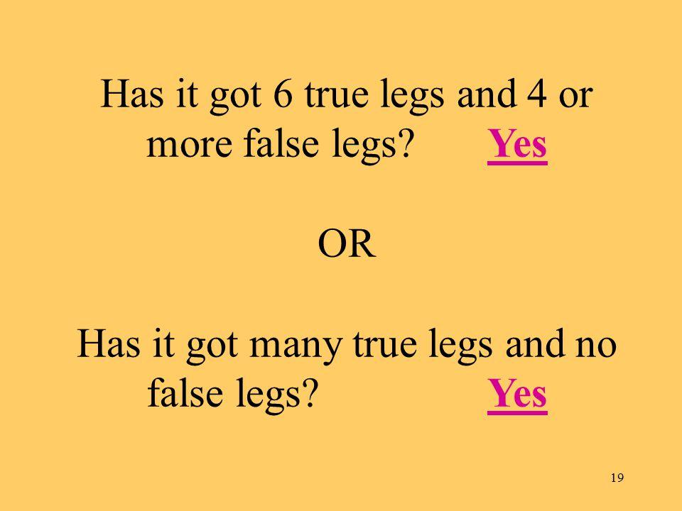 19 Has it got 6 true legs and 4 or more false legs.
