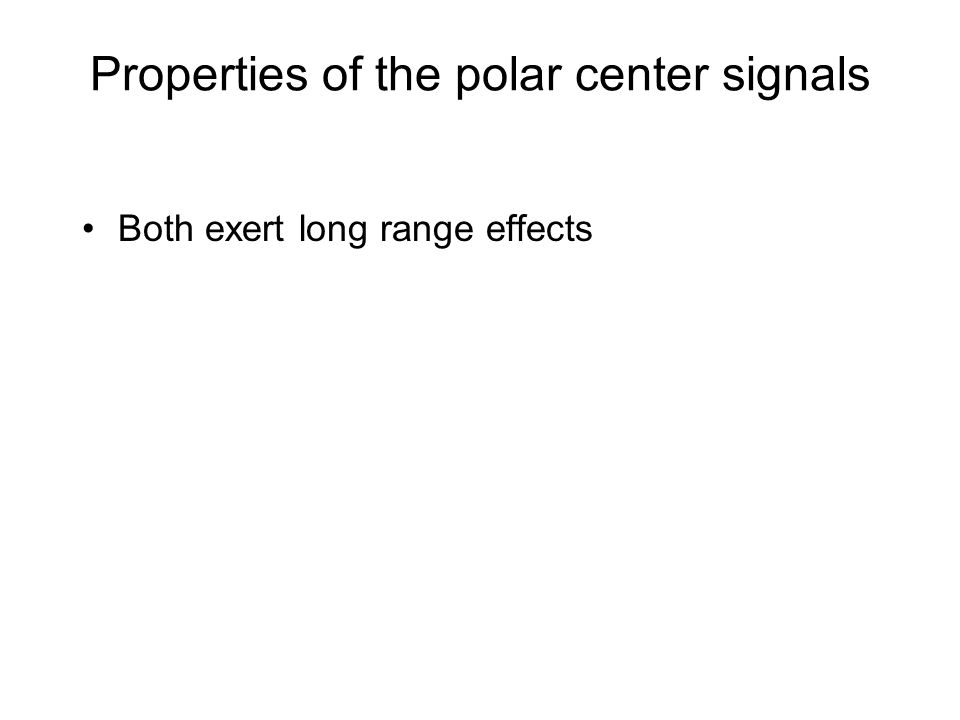 Properties of the polar center signals Both exert long range effects