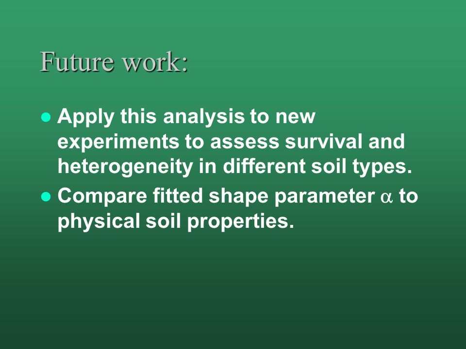 Future work: Apply this analysis to new experiments to assess survival and heterogeneity in different soil types. Compare fitted shape parameter  to