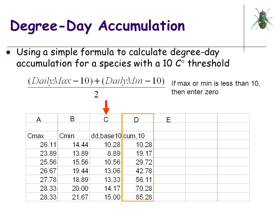 Degree-Day Accumulation Using a simple formula to calculate degree-day accumulation for a species with a 10 C  threshold A B C D E If max or min is l