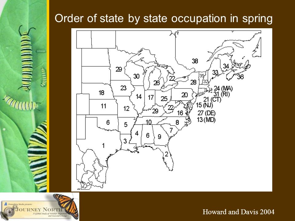 Order of state by state occupation in spring Howard and Davis 2004
