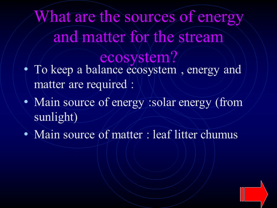 What are the sources of energy and matter for the stream ecosystem? To keep a balance ecosystem, energy and matter are required : Main source of energ