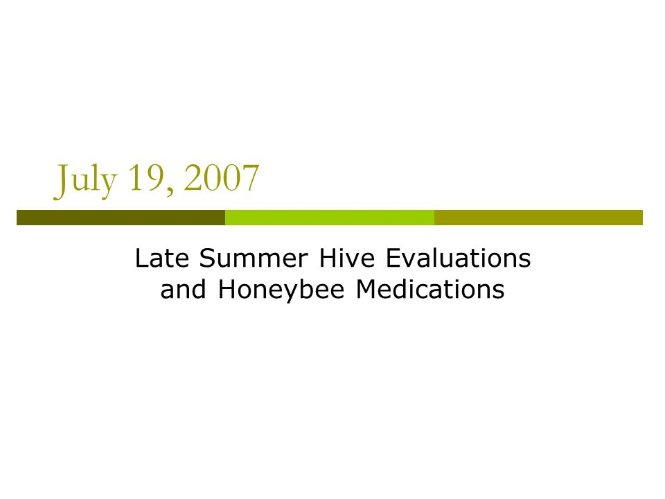 July 19, 2007 Late Summer Hive Evaluations and Honeybee Medications