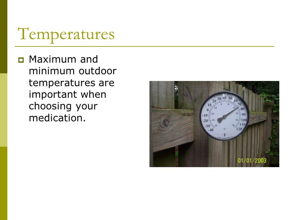 Temperatures  Maximum and minimum outdoor temperatures are important when choosing your medication.