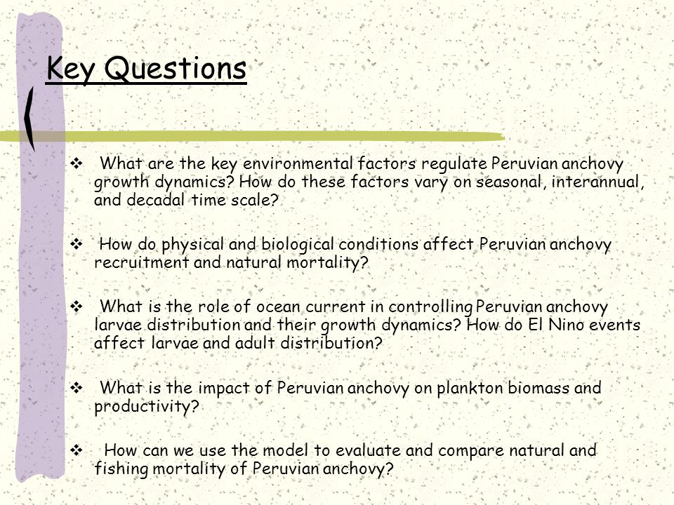 Key Questions  What are the key environmental factors regulate Peruvian anchovy growth dynamics.