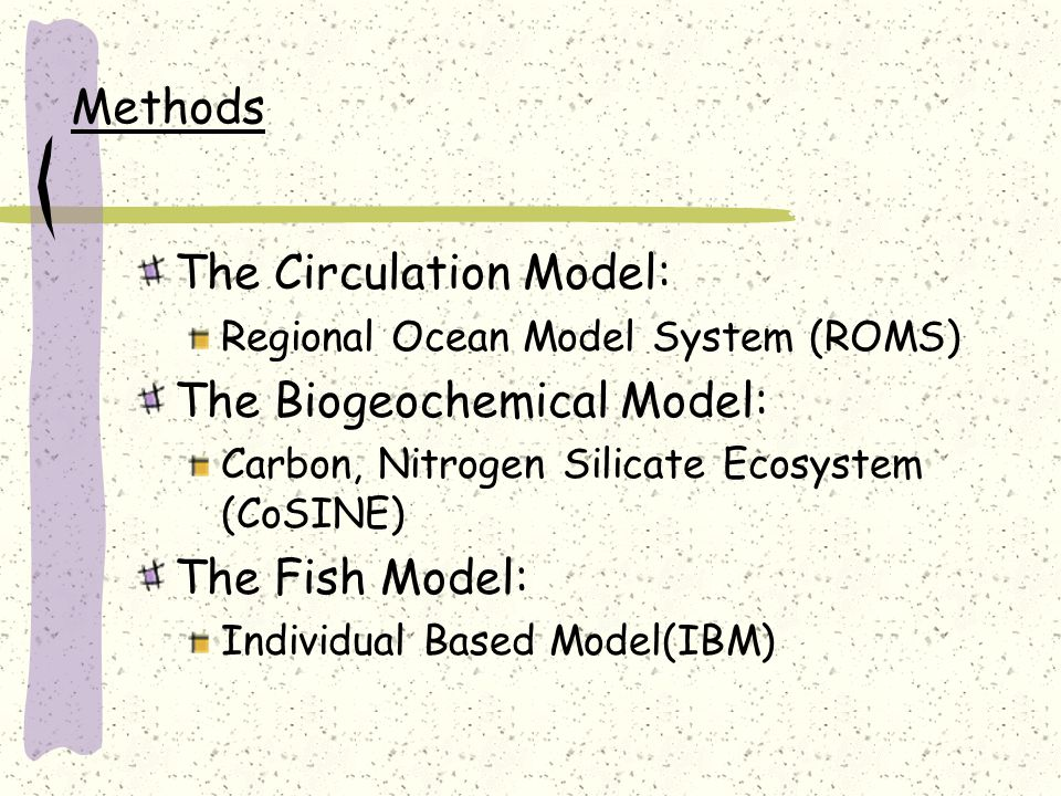 Methods The Circulation Model: Regional Ocean Model System (ROMS) The Biogeochemical Model: Carbon, Nitrogen Silicate Ecosystem (CoSINE) The Fish Model: Individual Based Model(IBM)