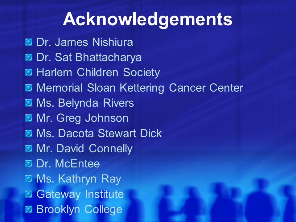 Acknowledgements Dr. James Nishiura Dr. Sat Bhattacharya Harlem Children Society Memorial Sloan Kettering Cancer Center Ms. Belynda Rivers Mr. Greg Jo