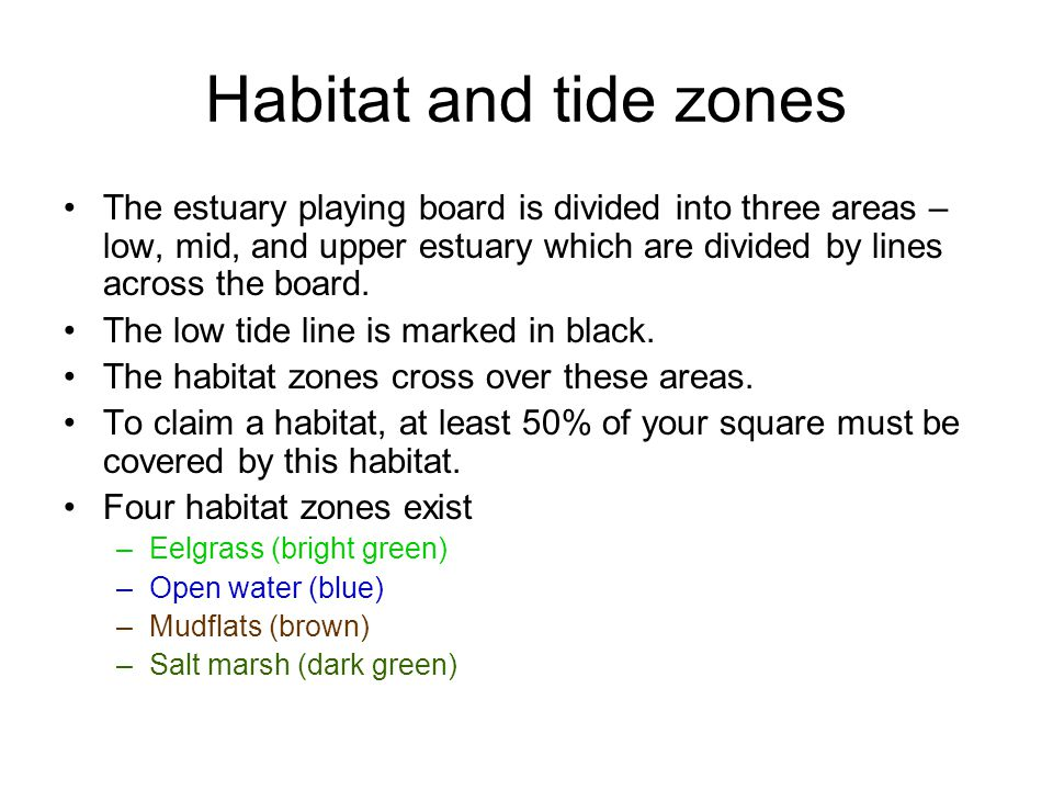 Habitat and tide zones The estuary playing board is divided into three areas – low, mid, and upper estuary which are divided by lines across the board