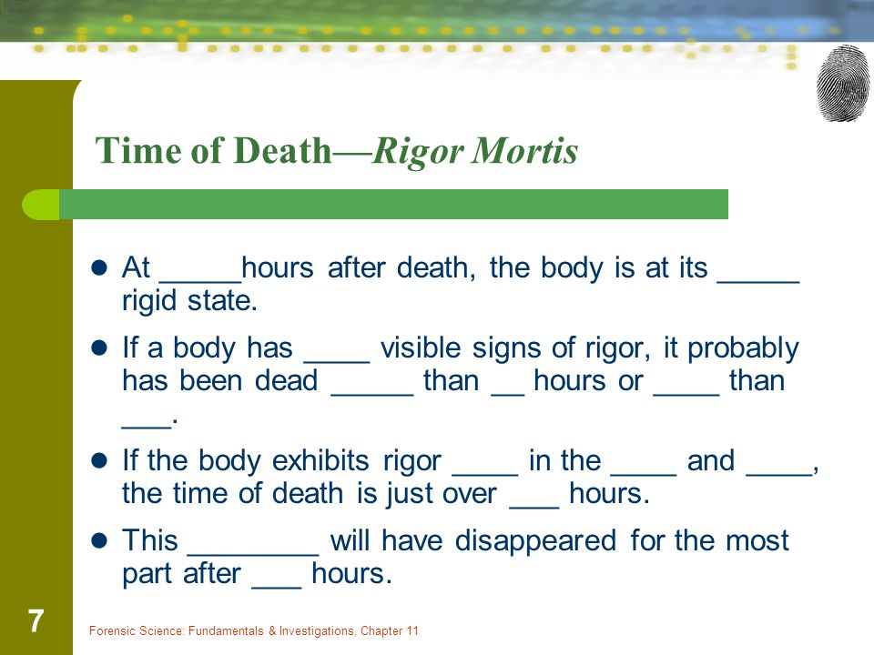 Forensic Science: Fundamentals & Investigations, Chapter 11 7 Time of Death—Rigor Mortis At _____hours after death, the body is at its _____ rigid state.