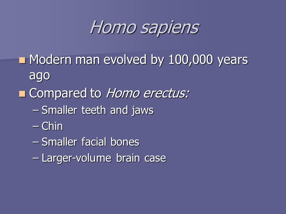 Homo sapiens Modern man evolved by 100,000 years ago Modern man evolved by 100,000 years ago Compared to Homo erectus: Compared to Homo erectus: –Smaller teeth and jaws –Chin –Smaller facial bones –Larger-volume brain case