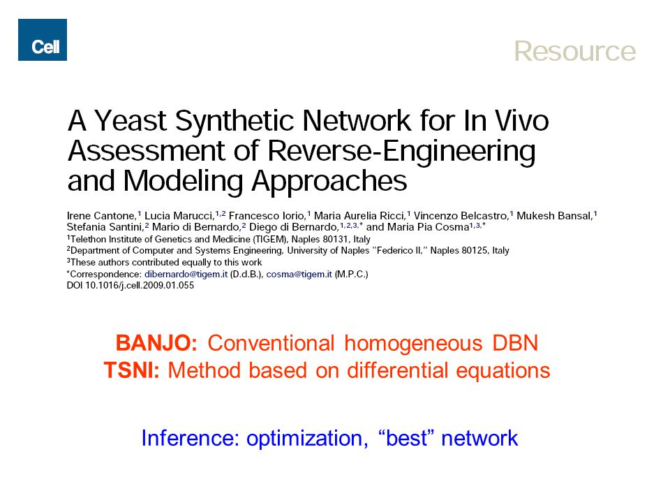 "BANJO: Conventional homogeneous DBN TSNI: Method based on differential equations Inference: optimization, ""best"" network"